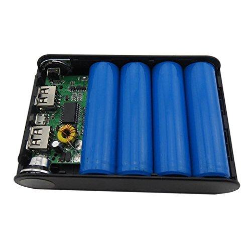 Gaddrt LED 5V 12000mah Dual USB Power Bank 18650 Chargeur de Batterie Case DIY Box pour téléphone (Noir)