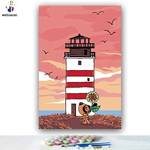KYKDY DIY Farbstoffe Bilder nach Zahlen mit Farben Lost Leuchtturm Küstenlandschaft Bild Zeichnung Malen nach Zahlen gerahmt Home, 0014,80x100 kein Rahmen