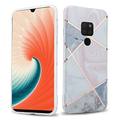 Cadorabo Funda para Huawei Mate 20 en Mármol Rosa Oro Blanco No.9 - Cubierta Proteccíon de Silicona TPU en Motivo Mosaico - Gel Case Cover Carcasa Ligera