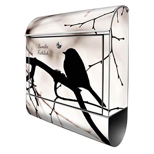 Banjado Design Briefkasten personalisiert mit Motiv Früher Vogel | Stahl pulverbeschichtet mit Zeitungsrolle | Größe 39x47x14cm, 2 Schlüssel, A4 Einwurf, inkl. Montagematerial