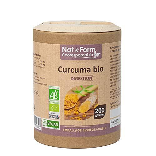 CURCUMA BIO 100% Eco-responsable | Complément Alimentaire 200 Gélules Vegan | Nat & Form | Digestion Articulations | Fabrication Francaise