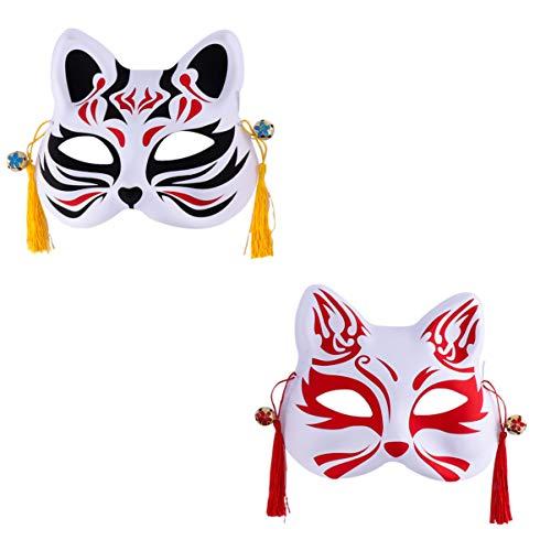 PRETYZOOM 2Pcs Fuchs Cosplay Maske für Party Maskerade Ball Japanische Kabuki Kitsune Kostüm Masken Halloween Maske