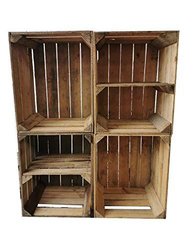 Teramico 4er Sets Holzkisten Vintage Used 50 x 40 x 30cm -MASSIV und STABIL- Ideal als Regal für Wein/Schuhe/Bücher, Couchtisch (2 x Boden Quer)