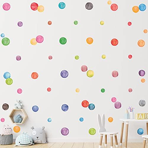 HPNIUB 51 adhesivos de pared multicolor con diseño de lunares, acuarela, lunares extraíbles, para habitación infantil, decoración de habitaciones infantiles, 51 unidades