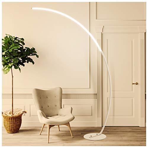 QTDH Nordic LED Arc dimbare staande lamp, moderne oogverzorging flexibele zwanenhals vloerlamp met afstandsbediening, voor op kantoor lees/werken