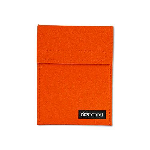 filzbrand eReader Tasche mit Lasche & Klettverschluss aus Designfilz (ca. 100prozent Wolle) für Kindle, Kobo, Bq Cervantes, Pocketbook, Tolino, orange
