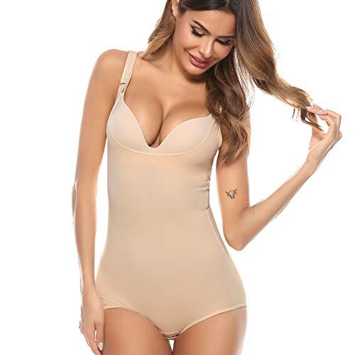 Aibrou Damskie body z otwartym biustem ściśle kontrolujące kształt dla kobiet body body kontrola brzucha bezszwowe pełne wyszczuplające modelowanie figury strój