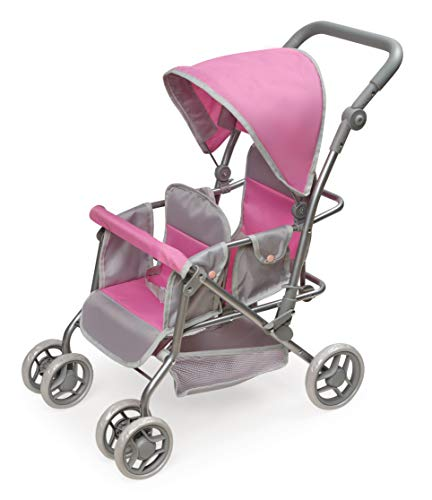 Badger Basket Cruise Twin Folding Inline Double Doll Stroller (fits American Girl Dolls)