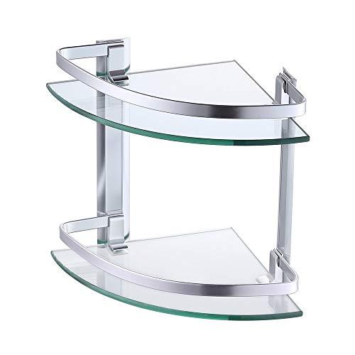KES aluminium glazen plank bad Corner Caddy mand opslag hangende organisator met extra dikte getemperd glas hedendaagse stijl wandhouder A4120-P 2-Stufe zilver