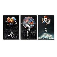 宇宙飛行士宇宙宇宙惑星ポスター絵画キャンバスプリント壁アート写真リビングルーム寝室の家の装飾-40x50cmx3フレームなし