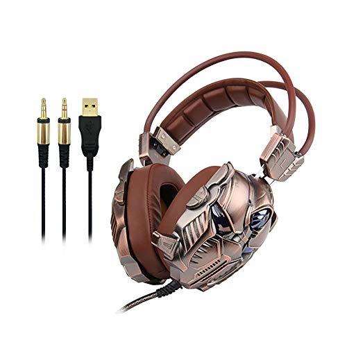 LHYXEJ Auriculares Gaming Headset 3.5 Canales Subwoofer Esports Computer Shake Headset, Calidad única + Aspecto Genial + Calidad de Sonido Dark Brown