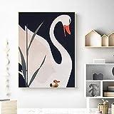 Impresión HD estilo nórdico decoración del hogar cisne animal imagen mural lienzo pintura sala de es...
