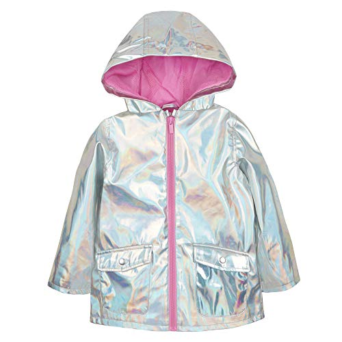 Metzuyan Infant Girls Iridescent Shiny Rain Coat Hood Silver