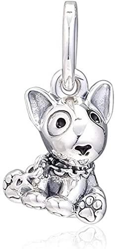 VVHN 2019 Día de la Madre Regalo Bull Terrier Puppies Dangle Bead 925 Plata DIY Fits Original Pandora Pulseras Charm Moda Joyería