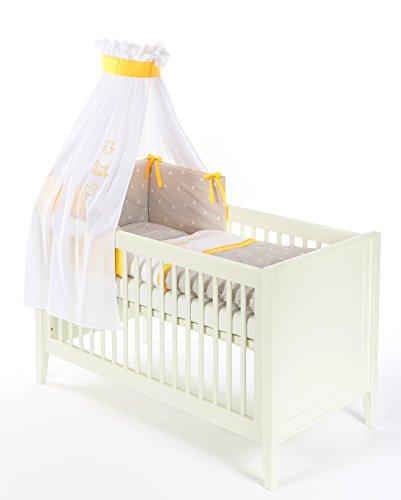 Set complet Ciel de lit+Tour de lit+Housse de couette 100x135 Cheval à bascule Orange