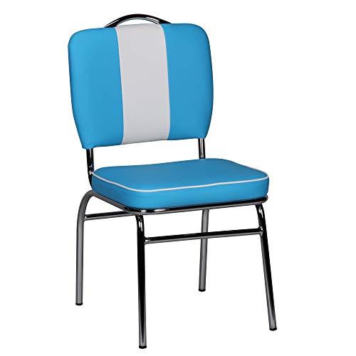 FineBuy Sedie Cucina Blu/Bianco Moderne Stile Americano Sedia per Sala da Pranzo   Design Moderno Sedie Ecopelle Imbottita