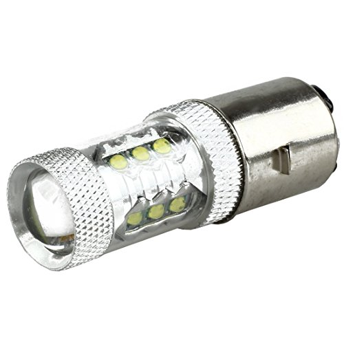 TOOGOO 80W BA20D H6 blanco16 LED Bombilla de linterna de motocicleta / ciclomotor / ATV