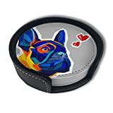 CZZD Animal French Bulldog Luxury Coasters Protect Furniture from Water Marks Scratch and Damage,Suitable for All Kinds of Cups,Set of 6