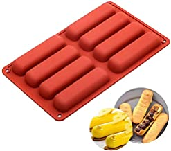 Silicone Mold 8 Cavity, Long Strips Eclair Mold for Chocolate Cracker Bar Stick, Fondant Mould DIY Tools, Rectangular Oblo...