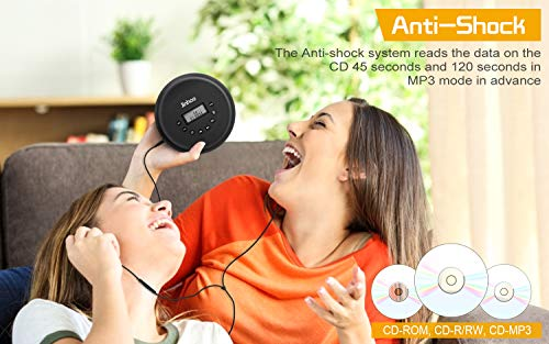 Portable CD Player with Wired Control Stereo Earbuds and 3.5mm Audio Cable, Jinhoo Rechargeable CD Player for car, FM Radio, Anti-Skip/Shockproof Protection Small Music MP3 Players 4