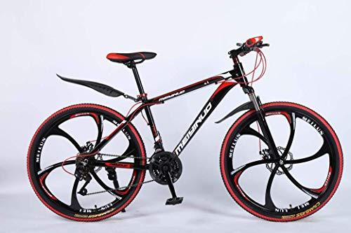 LEILEI 26In Bicicleta de montaña de 24 velocidades para Adultos Aleación de Aluminio Ligera Rueda de Cuadro Completo Suspensión Delantera para Hombre Bicicleta Freno de Disco