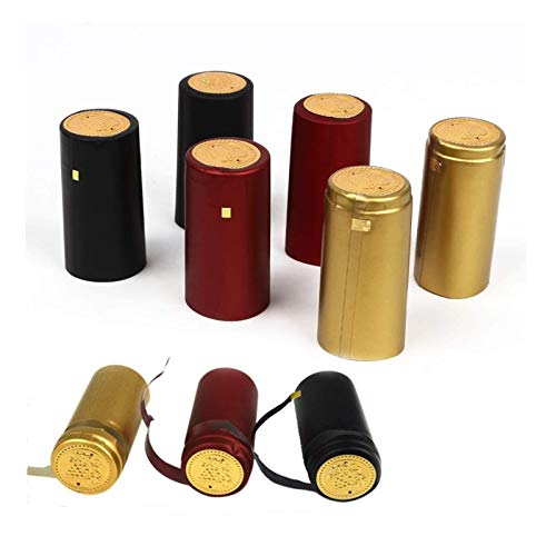 Cápsulas termorretráctiles de PVC – 120 unidades de 3 colores envolventes para botellas de vino profesionales y uso en el hogar – negro, rojo, dorado