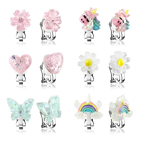 6 Pairs Crystal Clip On Earrings for Little Girls
