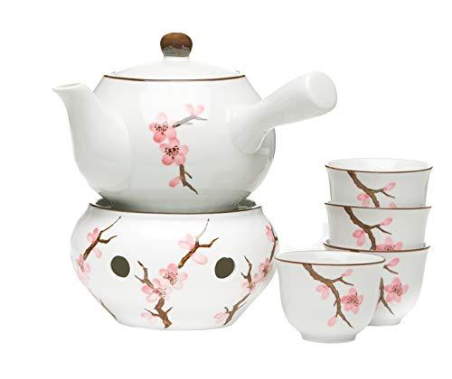 AAF Nommel Japanisches Teeservice 6 teilig mit 4 Teebechern und Stövchen Motiv Sakura Kirschblüte