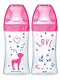 Dodie – Lot de 2 Biberons Anti-Colique Sensation+ Fushia love, 270 ml, 0-6 mois, Tétine Plate, Débit 2