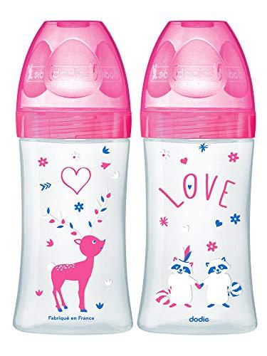 Dodie 6007302 SET met 2 x fles Sensation+ 270 ml FUCHSIE LOVE 0-6 maanden vlakke zuiger riviersnelheid 2, roze