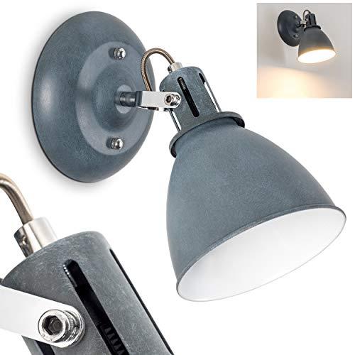 Wandleuchte Koppom, Wandlampe aus Metall in Grau-Blau/Weiß, 1-flammig, mit verstellbarem Lampenschirm, 1 x E14-Fassung, 40 Watt, Retro-Design
