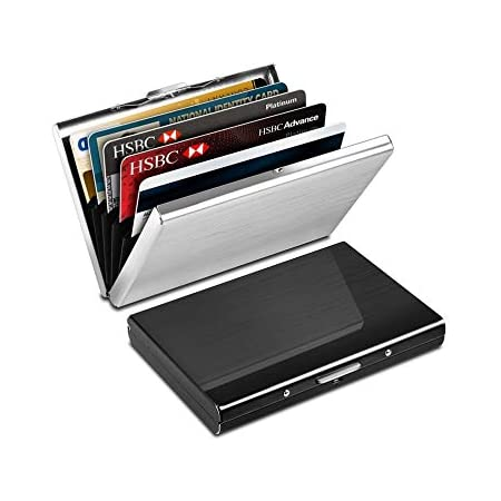 2pcs RFID Blocking Wallet, Yosemy Credit Card Protector Wallet, Stainless Steel Aluminum Metal Holder Case with 6 PVC Slots,Slim, Secure, Metal Contactless Card Protector for Adult (Silver,Black)