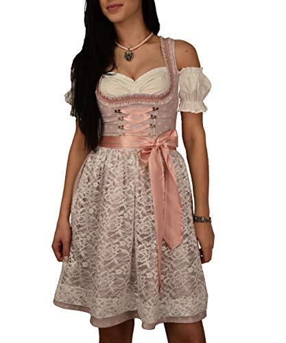 Golden Trachten-Kleid Dirndl 3 TLG Set, Damen Midi für Oktoberfest, Pastelviolett mit Schleifchen Muster, Gr 34 bis 42 521GT (34)