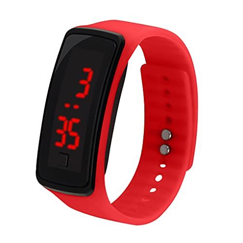 teng hong hui Reloj de Pulsera de Silicona Banda LED Deportivo Deporte LED Digital Reloj Pulsera para Niños Mujeres Hombres, Amarillo