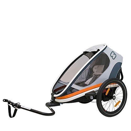 Hamax Outback Multi-Sport Child Bike Trailer + Stroller (Jogger Wheel Sold Separately) (One Seat, White/Orange)