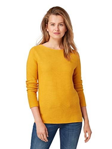 TOM TAILOR Damen Pullover & Strickjacken Pullover mit Strickmuster Merigold Yellow,XS