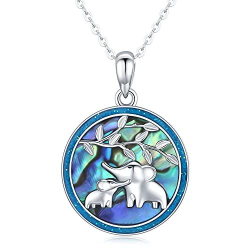 collar elefante, collar con colgante de animal de plata de ley 925 para mujer, regalos para mamá de mujer
