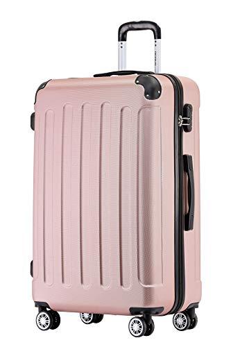 BEIBYE Hartschalen-Koffer Trolley Rollkoffer Reisekoffer Handgepäck 4 Rollen (M-L-XL-Set) (Rosa Gold, XL)