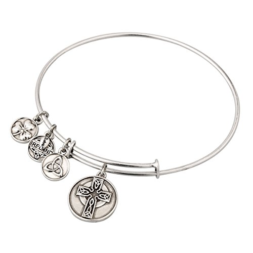 Silver Tone Enamel Charm Bangle Bracelet with Large Celtic Cross Charm in Gift Box Made in Ireland