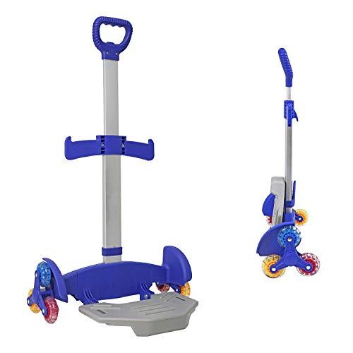 Wheeled Backpack Cart,Aluminium Alloy Folding Trolley Cart for Backpack (Blue, 6 Wheels)