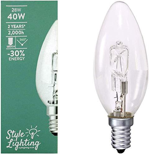 5 x Style Lighting Glühbirne Eco Halogen-Energiesparlampe 28 W = 40 W SES E14 Kerzenlampe Dimmbar Warmweiß