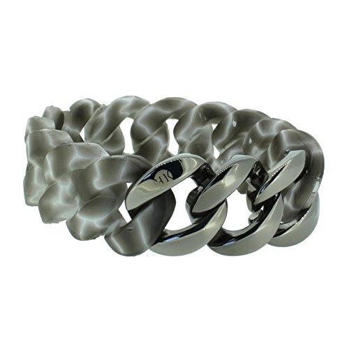 Hanse-Klunker Armband Damen ORIGINAL Silikon Muster Grau Weiss, Edelstahl Gun Metal Frauen Mädchen Größe 19-20 cm inkl. Schmuck-Geschenk-Box