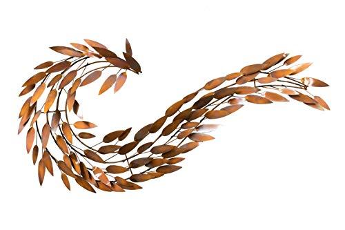 KunstLoft Extravagante Metall Wandskulptur 'Rotfuchs' 63x130x8cm | Design Wanddeko XXL handgefertigt | Luxus Metallbild Wandrelief | Feuerfuchs Flamme in Bronze | Wandobjekt Wandbild modern