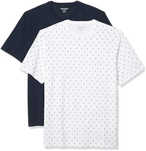Amazon Essentials 2-Pack Crewneck T-Shirts Undershirts, Ancla/Marina, M, Pack de 2