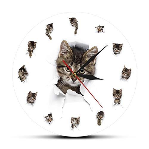 yage Lindos Gatitos en el Agujero de Papel, acrílico Impreso, Reloj de Pared, diseño de Animales, decoración de Pared para guardería, Gatitos, Gatos, Reloj de Pared