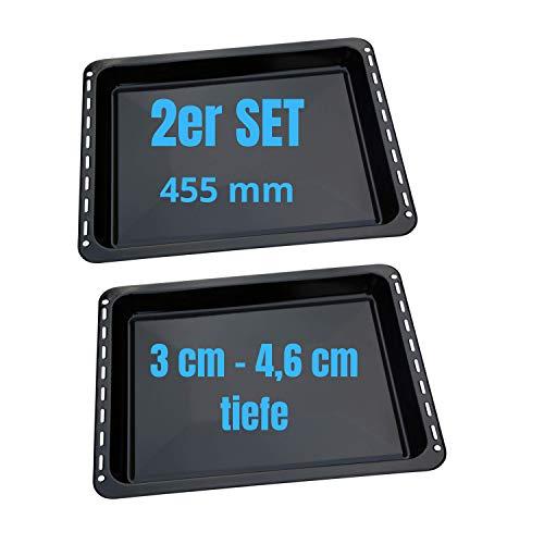 UD UNIQ DEALZ 455x370x 31 und 46mm 2er Set mit 2 Backbleche 2 Tiefe emailliert passend für BSH-Gruppe 662999 – 00662999, 434038 kompatibel Bosch Siemens Neff Constructa Balay NEFF Gorenje