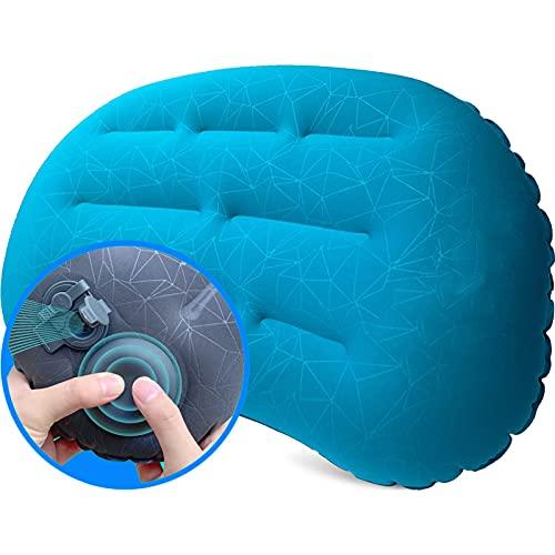 GESTAND Almohada hinchable para camping, cojín de viaje, ultraligero, cojín de aire, almohada cervical, cojín ergonómico para la playa y viajes (azul claro)