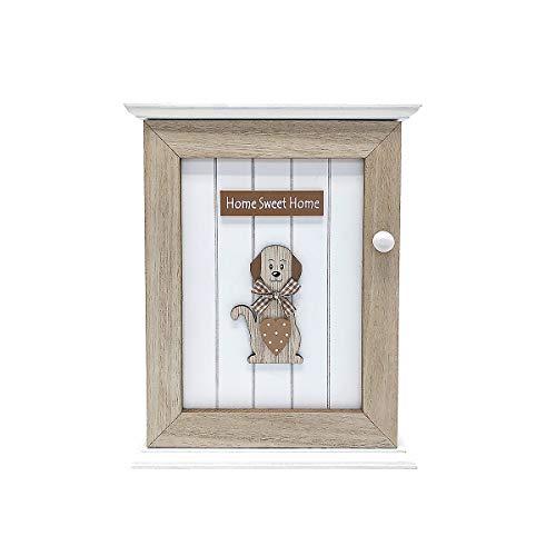 Schlüsselkasten Schlüsselbretter Schlüsselbox mit 6 Haken, Holz mit Hund und Home Sweet Home Motiv - Geschenkidee für Hundeliebhaber Hundebesitzer