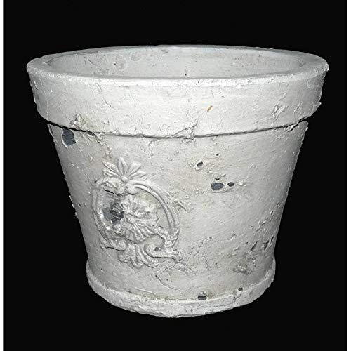 L'Héritier Du Temps Grand Cache Pot ou Jardinière Façon Poterie Ancienne en Terre Cuite Ton Pierre 18x18x23cm