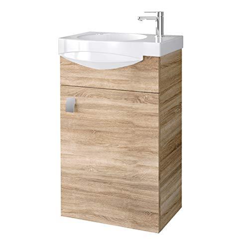 Planetmöbel Badmöbel Set Gäste WC Waschtischunterschrank Keramikwaschbecken Sonoma Eiche